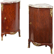 SALE Pair of Louis XV Style Ecoignures Antique Cabinets, 19th Century