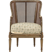 REDUCED French Antique Bergere Arm Chair in Louis XVI Taste, c. 1890