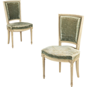 SALE Pair of French Louis XVI Style Vintage Side Chairs c. 1940-50
