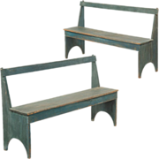 SALE Pair of American Painted Bootjack Benches, 19th Century