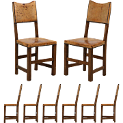 Set of Eight English Oak and Leather Vintage Dining Chairs