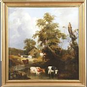 SALE British School Antique 19th Century Painting of Cows