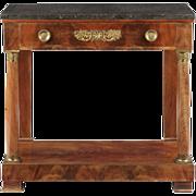 SALE French Empire Antique Gilt Bronze Mahogany Pier Table, 19th Century