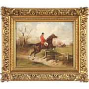 SALE Antique Equestrian Oil Painting of Hunt Scene, Signed