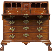 REDUCED American Chippendale Oxbow Desk on Ball and Claw Feet, 18th Century