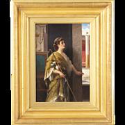 SALE Luigi Crosio Italian Antique Painting of a Classical Interior c. 1877