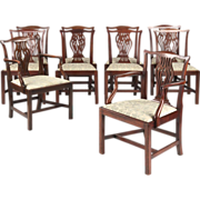 SALE Set of Ten English Chippendale Dining Chairs, Antique c. Early 19th Century