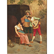 SALE Gian Carlo Polidori Antique Painting of Street Musicians, Signed