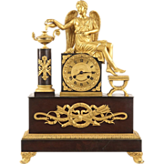 SOLD French Antique Bronze Mantel Clock of Winged Figural, 19th Century