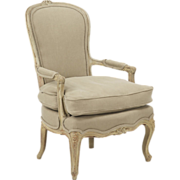 SALE French Antique Painted Arm Chair Fauteuil, 19th Century