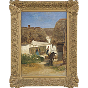 SALE Albert Heinrich Brendel Antique Painting of Village with Donkey, Signed