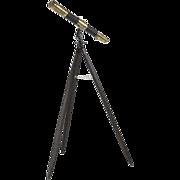 SALE Vintage Brass Telescope on Wooden Tripod, 20th Century