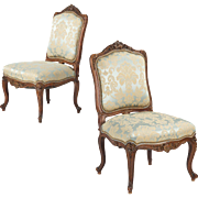 REDUCED Pair of Rococo Revival Antique Chairs, Carved Walnut c. 1860-80
