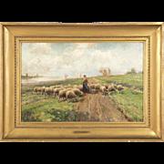SALE PENDING Frans Van Leemputten (Belgian, 1850-1914) Antique Painting of Shepherdess with Sh