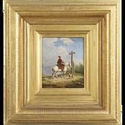 SALE Eugene Verboeckhoven Antique Oil Painting of Man on Horseback c. 1840