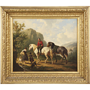 SALE Dutch School Antique Oil Painting of Figures on Horses, 19th Century