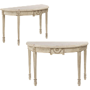SALE Pair of Neoclassical Style Console Tables with Worn Painted Finish, 20th Century
