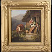 SALE PENDING Antique German Painting by Sebastian Habenschaden, 19th Century