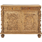 Continental Carved Antique Cabinet in Baroque Taste, 19th Century