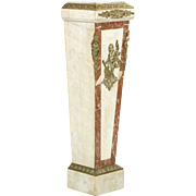 French Antique Pedestal Column in Marble and Gilt Bronze, 19th Century