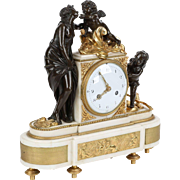 Louis XVI Antique Bronze Mantel Clock, 18th Century c. 1790