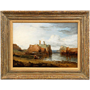Scottish Antique Oil Painting of Dunbar Castle Ruins, 19th Century