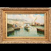 Italian Antique Oil Painting of Fishermen at Sea by Lazzaro Pasini
