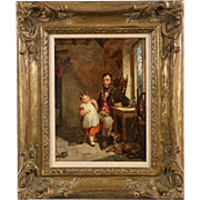 English Antique Oil Painting of Father and Daughter, 19th Century