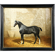SALE PENDING Antique Equestrian Painting of Horse in Barn by Jonny Audy, French c. 1875