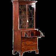 English Georgian Antique Secretary Desk w/ Bookcase c. 1780