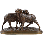 Isidore Bonheur Antique French Bronze Sculpture of Two Sheep, Peyrol Foundry c. 1870