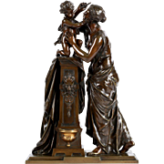 SALE French Antique Bronze Sculpture Group of Woman and Child by Susse Freres