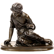 Classical French Antique Bronze Sculpture of Girl with Lizard, 19th Century