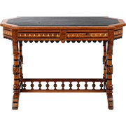 American Antique Library Table Desk, Renaissance Revival c. 1880-90