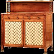 English Regency Antique Chiffonier Cabinet w/ Brass Inlaid Rosewood c. 1810-20