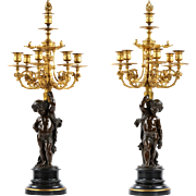 Pair of French Bronze Candelabra by Victor Paillard w/ Putto Sculpture, 19th Century