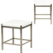 Pair of Vintage Steel and Faux Leather Foot Stools, Mid-Century Modern c. 1980's