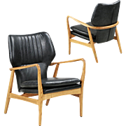 Pair of Danish Mid-Century Style Leather Lounge Chairs