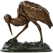 Alfred Barye Antique Bronze Sculpture of Stork and Crab, 19th Century