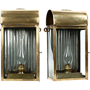 Pair of English Domed Brass Antique Oil Lamp Lanterns, 19th Century