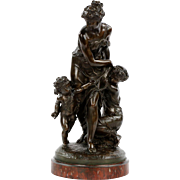 Pierre Eugene Emile Hebert Antique Bronze Sculpture of Two Females and Cupid, Tiffany & Co.