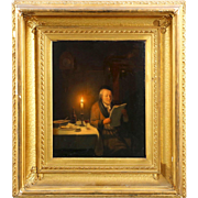 Pieter Sjamaar Antique Dutch Painting of Reading by Candlelight, 19th Century