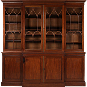 American Federal Mahogany Library Bookcase Antique Breakfront, 19th Century