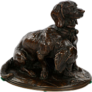 Emmanuel Fremiet Antique French Bronze Sculpture of Basset Hound Dogs, 19th Century