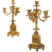 Pair of French Antique Bronze Candelabra by Henri Picard c. 1880