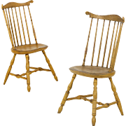 Pair of American Windsor Distressed Painted Fanback Side Chairs