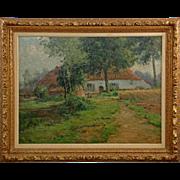 Leon Riket Antique Landscape Painting, Impressionism, Signed