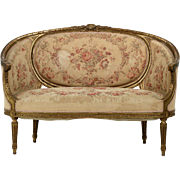 French Louis XVI Carved Antique Canape Settee Sofa, 19th Century