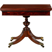 American Classical Mahogany Antique Card Table w/ Flip Top, Baltimore, 19th Century