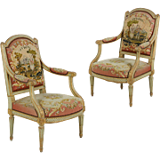 Pair of French Antique Arm Chairs w/ Green Painted Surface, Louis XVI Style